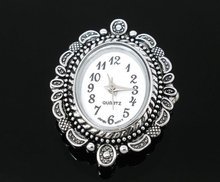2 Silver Tone Oval Quartz Watches Faces 33x26mm Findings