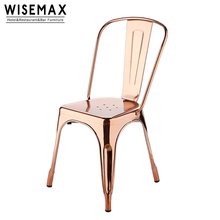 Iron Rose Gold Metal Brushed Stainless Steel Dining Chair For Private Party