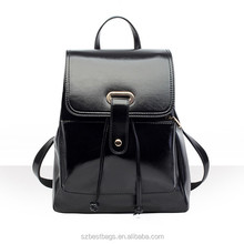 Fashion stylish leisure black PU bag custom wholesale lady leather backpack