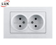 european type hotel Wall Switch 2 gang socket with EU standard switch socket
