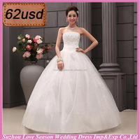 OYSC62-20 good reputation supplier with high quality beaded sequins top lace up S/M/L/XL/XXL white no train wedding dress
