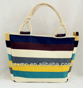 Cotton canvas rope handle beach bag, canvas tote bag with cotton rope handles