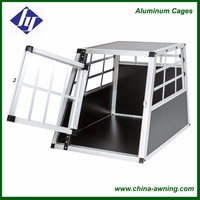 Folding durable two doors aluminum dog cage with divider