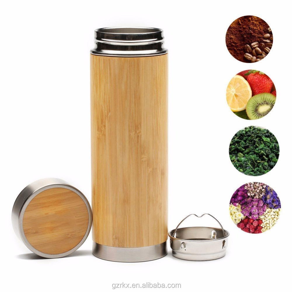 Eco-friendly Stainless Steel Bamboo Tea Infuser with Strainer,Vacuum Insulated Coffee Travel Mug,Bamboo water bottle Tumbler