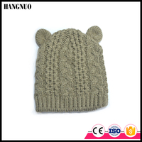 100 acrylic cable knit animal hat