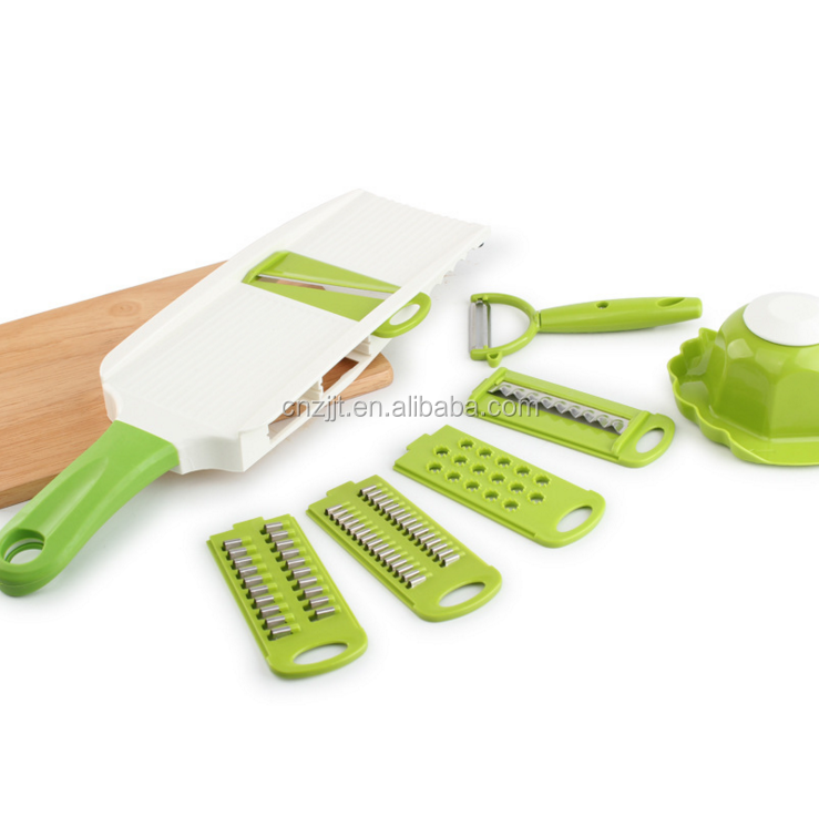 Kitchen Multifunctional Vegetable Slicer Potato Slicerr Domestic Cutter Manual Cutter Scraper Green Handle
