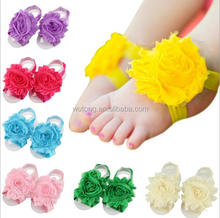 Wholesale Shappy Chiffon Flower Baby Barefoot Sandals Solid Colors Flower Foot Toddler Flower Shoes Baby Girls Accessories