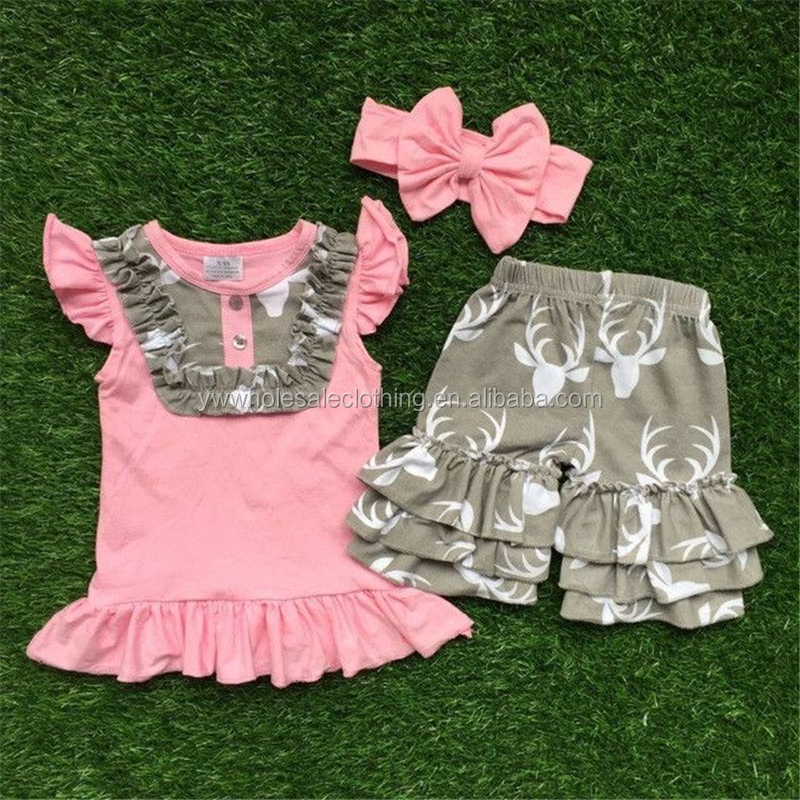 wholesale western girls boutique clothing lovely children's deer ruffle shorts spring clothes outfit summer flutter deer outfit