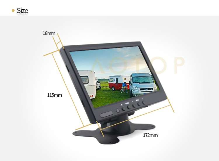 "heavy dutiy 7"" car rearview lcd monitor With U-shaped bracket"