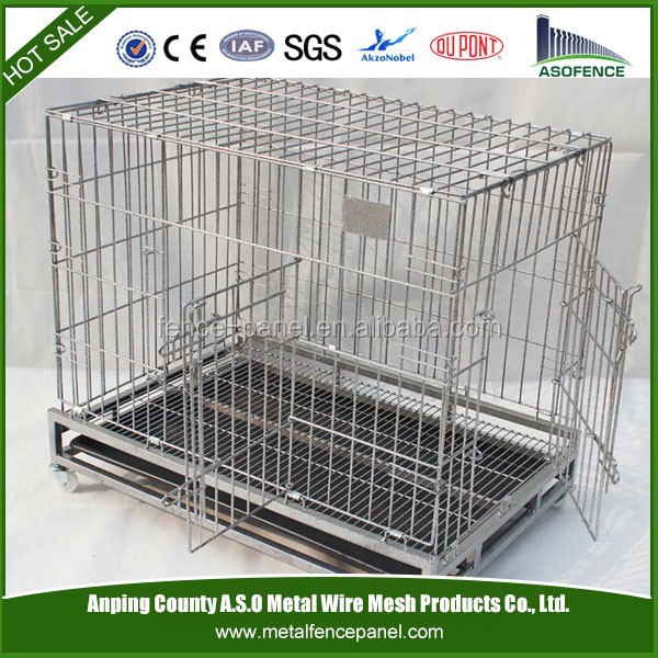 Metal wire mesh dog cage with wheels,pet dog cages