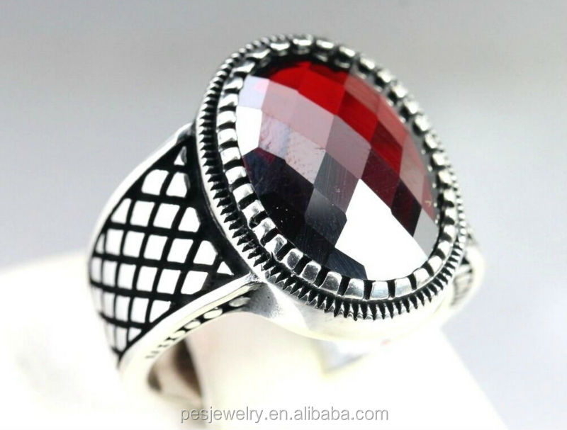fashion design Sterling Silver 925 Turkish red Garnet Stone men ring