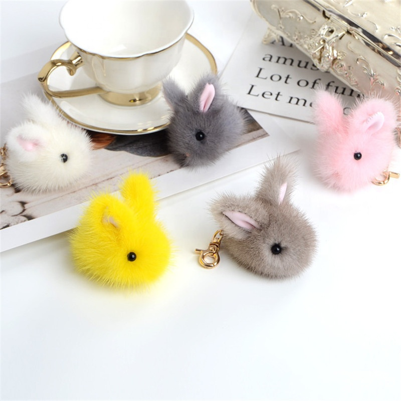 custom <strong>rabbit</strong> and <strong>rabbit</strong> fur soft toy keychains