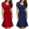 Western Style Fashion Women's Official V-Neck Retro Cap Sleeve Fitted Business Tight Fitted Cocktail Dress