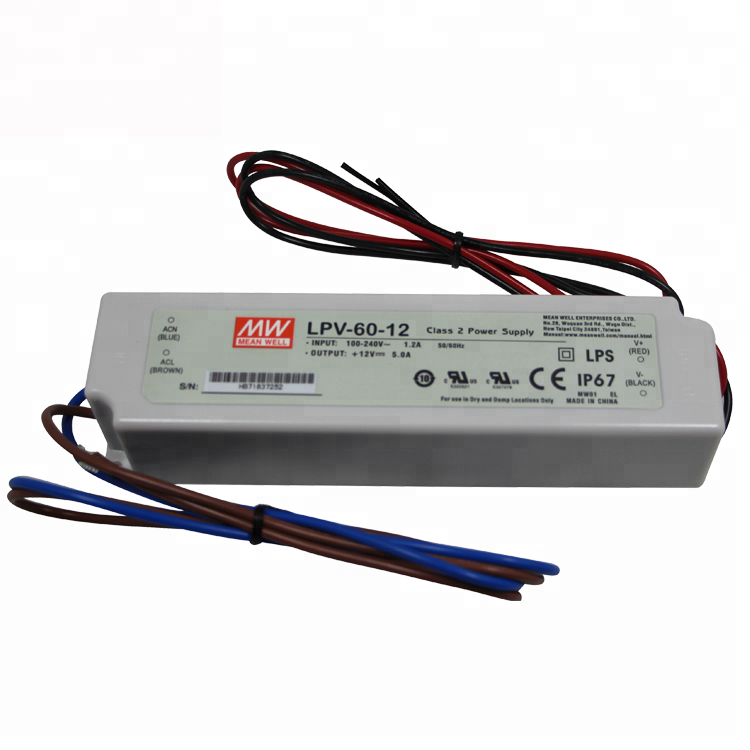 Meanwell 60W 12V 5A Constant Voltage Plastic Case LED Driver LPV-60-12 Waterproof IP67 Rate