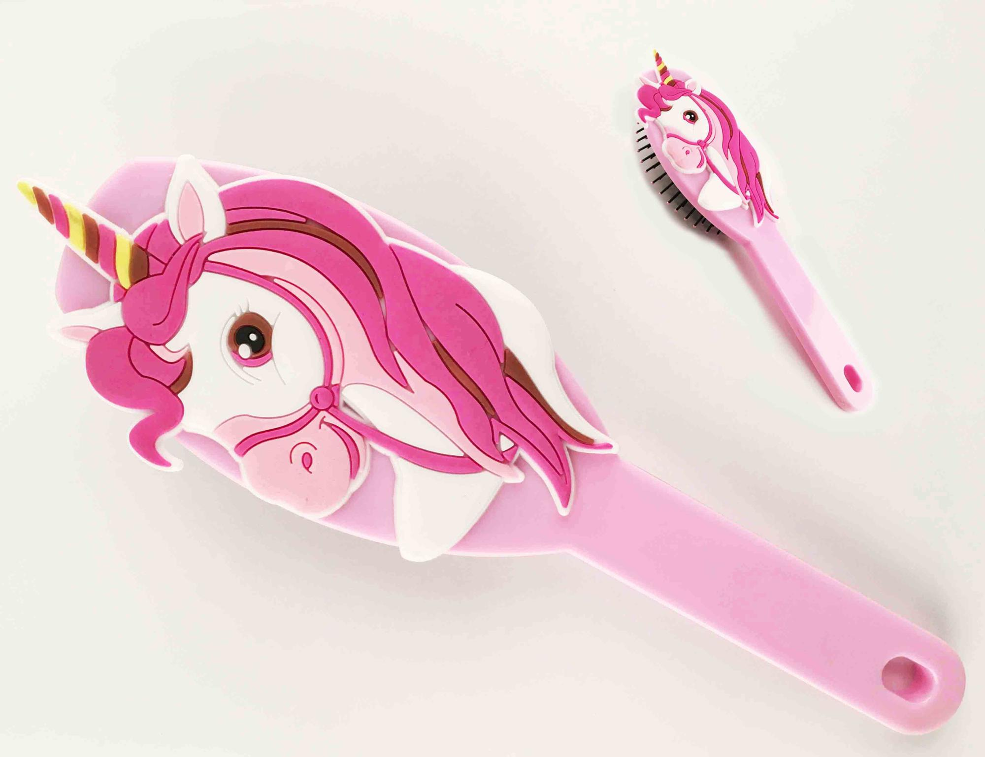 2018 Newest plastic unicorn hair comb with high quality hair brush wholesale