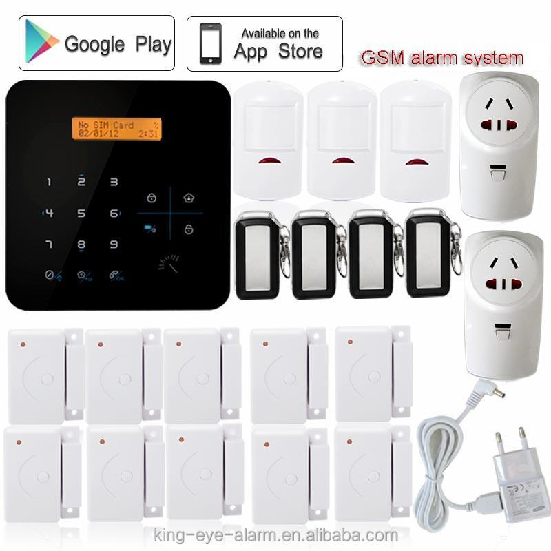 Wireless home security alarm gsm with LCD touch pad, 30 wireless zones+4 wired zones home security alarm 433mhz