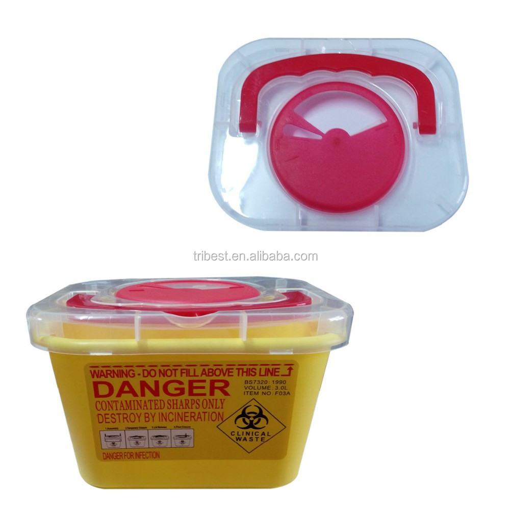 Small disposable plastic dental/medical sharp box/sharp container with handle-3L