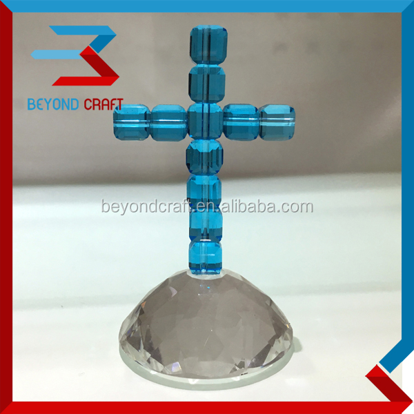 Lake Blue Crystal Beads Cross First Communion gifts