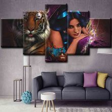 Hot sexy nude girl with animal canvas printing for hotel wall decor
