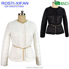 Latest designs women's padding jacket fashion Clothing with metal belt