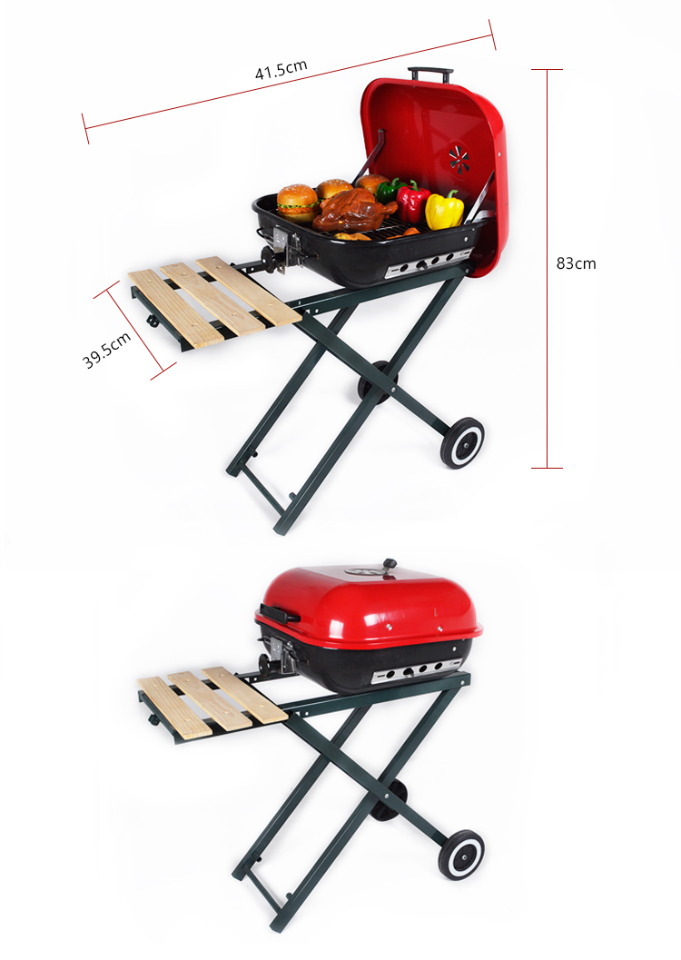 folding stand legs simple barbecue grills high quality Trolley foldable hamburger bbq grill for sale in foshan china