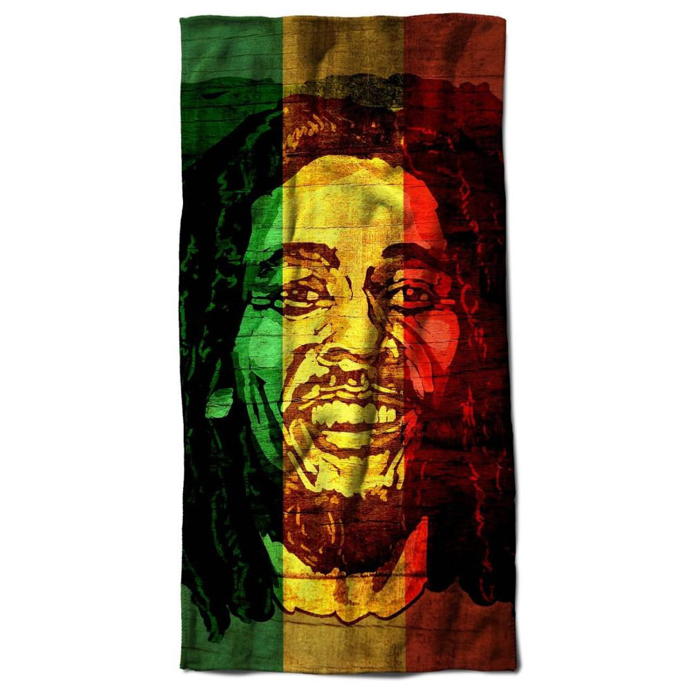 Custom Made Weed Celebrity Bob Marley Logo Peace Rasta Beach Towel