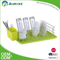 Kitchen accessory plate dish glass cutlery unique organizer rack with green plastic tray