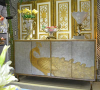 Hand Painted Golden Peacock TV Cabinet, Classic Design Entertainment Center, Elegant Home Decorative Wooden Furniture