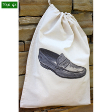 China manufacturer cheap hot sale natural color cotton drawstring personalized cute travel multiple shoe bag