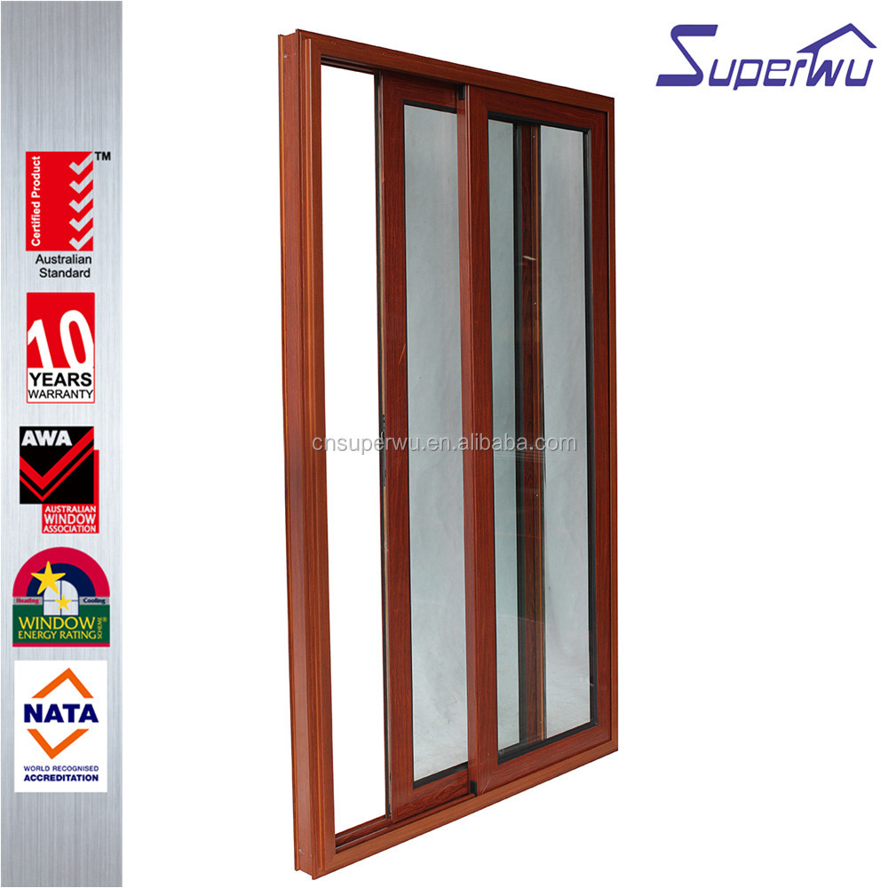 Simple design wooden color aluminum frame sliding door with cheap price