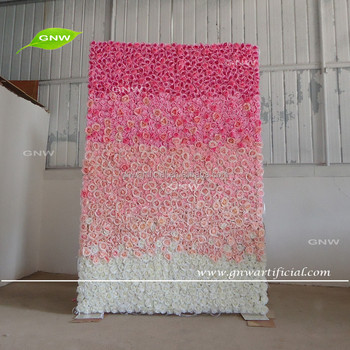 GNW FLW161116-001 Wedding decoration artificial dark pink to white ombre flower wall