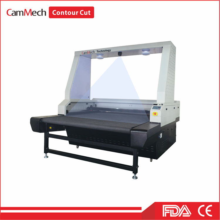 Vision Laser Contour Cut Printing Fabric with Conveyor Table