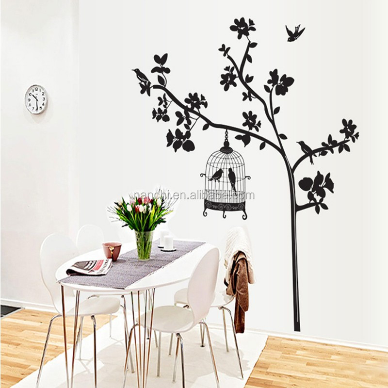 Removable Vinyl Art Decal Home Decor Wall Sticker Bird Cage Tree Black Colour Large Size:60cm*90cm New Arrival 1 pcs/lot