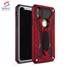 Mobile accessories shockproof red case for iphone 8 with kickstand