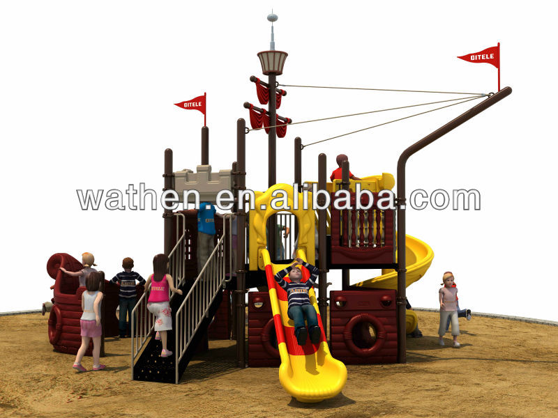 lastest and existed pirate ship outdoor slide playground equipment sale