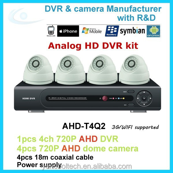 4ch 720P AHD camera cctv dvr kit with cloud technology