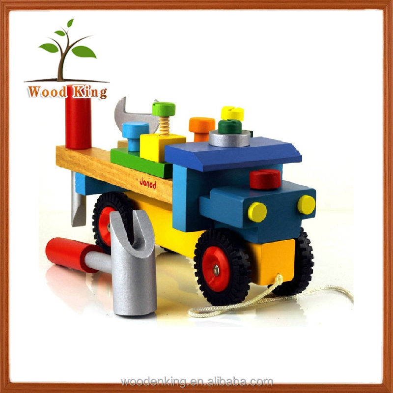 Nuts And Bolts Children'S Puzzle Wooden Rubber Dismounted Tool Vehicle Tool Self Assemble Toys Truck Assemble Toy