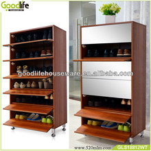 30 pairs wooden closed shoe rack with mirror