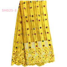 Wholesale Yellow Indian Hand Made Heavy Beaded Tulle Lace Fabric For Dress