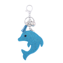 new silver jewelry rhinestone leather key chain animal dolphin souvenir key holder with tassel