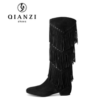 Z005 China shoes women lady middle heel suede leather tassels black long boots
