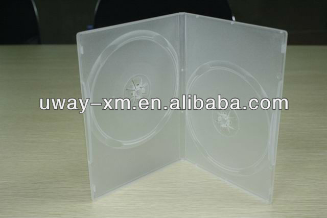 UW-DVD-217 9mm clear double disc dvd case/ 9mm 2 disc dvd box