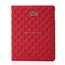 Luxury Crown Pattern Bling Diamond Leather Smart Protective Stand Case Cover for Apple iPad