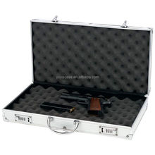ALUMINUM FRAMED GUN PISTOL HANDGUN CASE 2 COMBO LOCKS HARD CARRY FOAM INSERTS