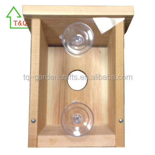Natural Wooden Visible Window Bird Nest box