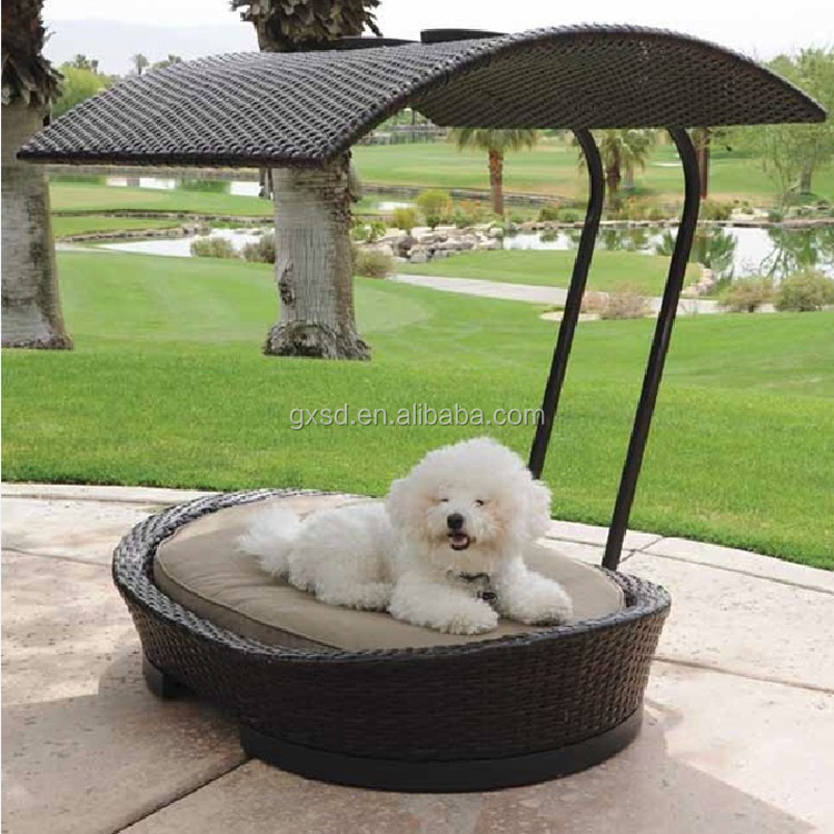 Latest design patio pet furniture all weather wicker luxury dog bed