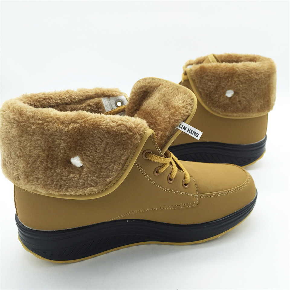 LIN KING Warm Swing Shoes Women Cotton Padded Winter Snow Boots ... 7aa10bb497ee