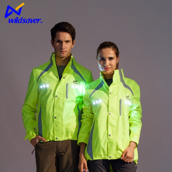 2016 hi vis Outdoor Cycling waterproof clothing with LED light