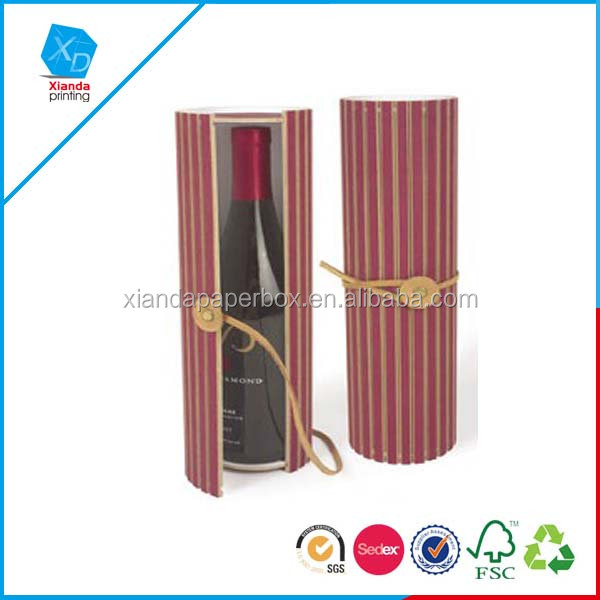 Hot sale new design single round tube wine box with ribbon,hot sale single fashionable wine box