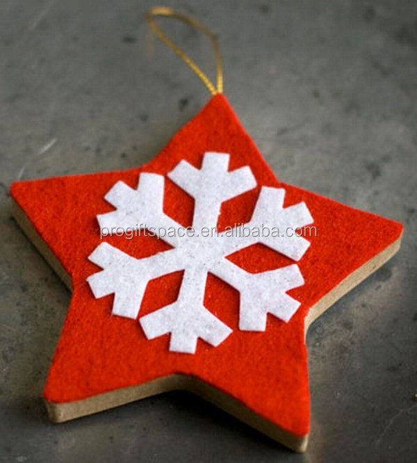 Hot new products alibaba china fabric handmade bulk native felt diy red hanging christmas star decoration with sonwflake